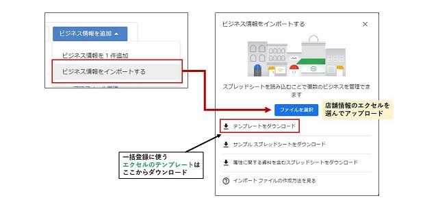Googleマイビジネスの一括登録インポート画面
