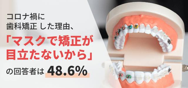コロナ禍に歯列矯正した理由、「マスクで矯正が目立たないから」が48.6% 一方、矯正歯科の選び方に悩む声も